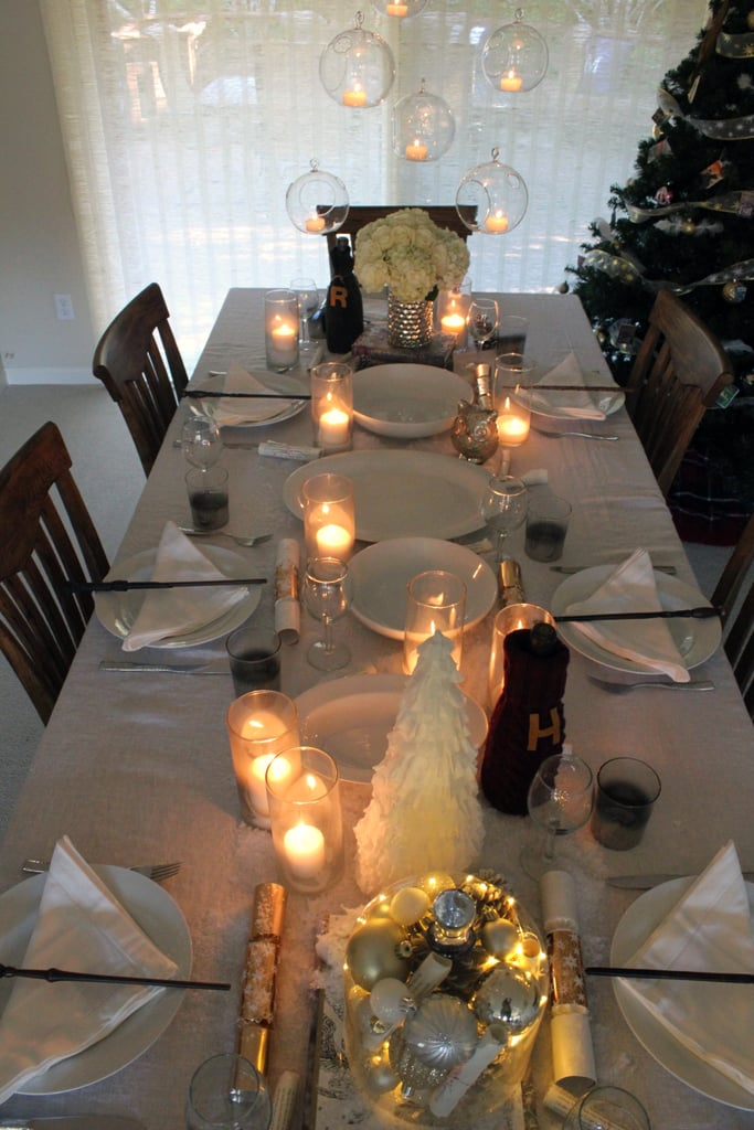 Create a wintry tablescape with white plates and napkins.