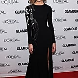 Taking a page from Liya's book, Karlie Kloss wore a complementary black-and-silver design, hers an embroidered Oscar de la Renta gown.