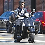 Andrew Garfield zoomed around LA on his black Vespa scooter.