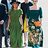 When she attended Prince Harry and Meghan Markle's wedding, Kitty wore a green Dolce & Gabbana dress with a matching hat.