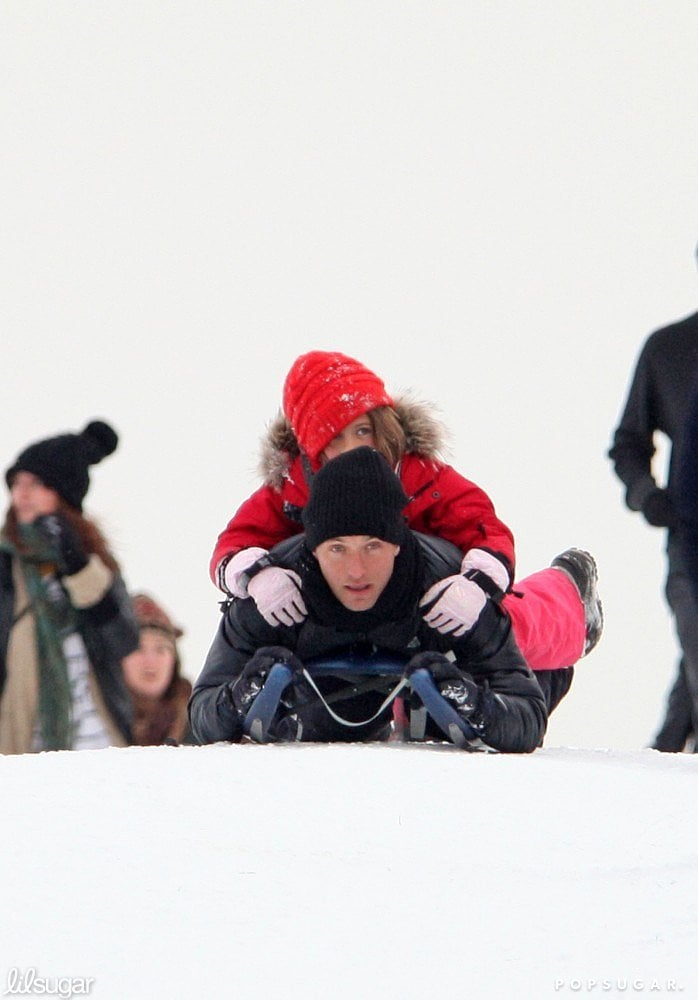 A Hampstead snowstorm in January 2010 allowed Jude Law to go sledding with Iris on his back for the afternoon.