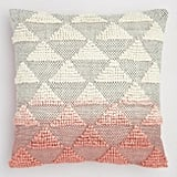 Coral Woven Triangle Indoor Outdoor Throw Pillow