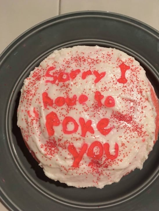 """""""Mark baked me a cake the day before we started injections. It was all pink!!!"""""""