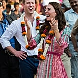 Kate laughed it up while playing football games during a visit to the Banganga Water tank in April.