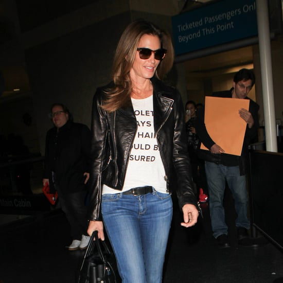 Cindy Crawford Wearing Jeans and a T-Shirt