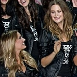 Lily Donaldson and Behati Prinsloo give each other a loving look.