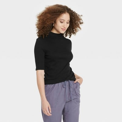 A New Day's Elbow Sleeve Mock Turtleneck T-Shirt
