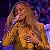Beyoncé's Honey-Yellow Suit at the Kobe and Gigi Bryant Memorial