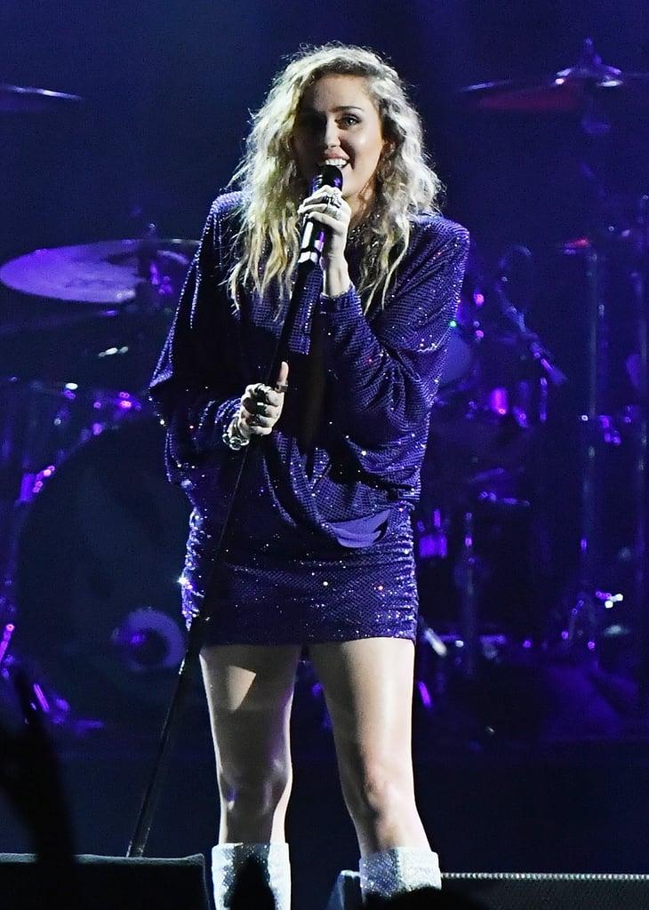 Miley Cyrus's Purple Minidress January 2019
