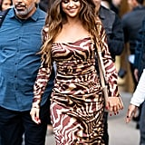 Selena Gomez Wearing a Tiger-Print Ganni Dress