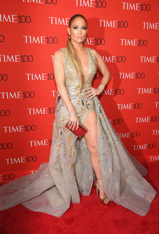 Jennifer Lopez Gold Zuhair Murad Dress At Time 100 Gala 2018 Popsugar Fashion