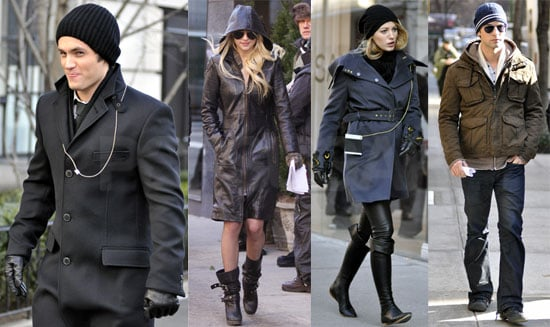 Photos of Jessica Szohr, Blake Lively, Chace Crawford, Penn Badgley, Taylor Momsen, Connor Paolo on the set of Gossip Girl