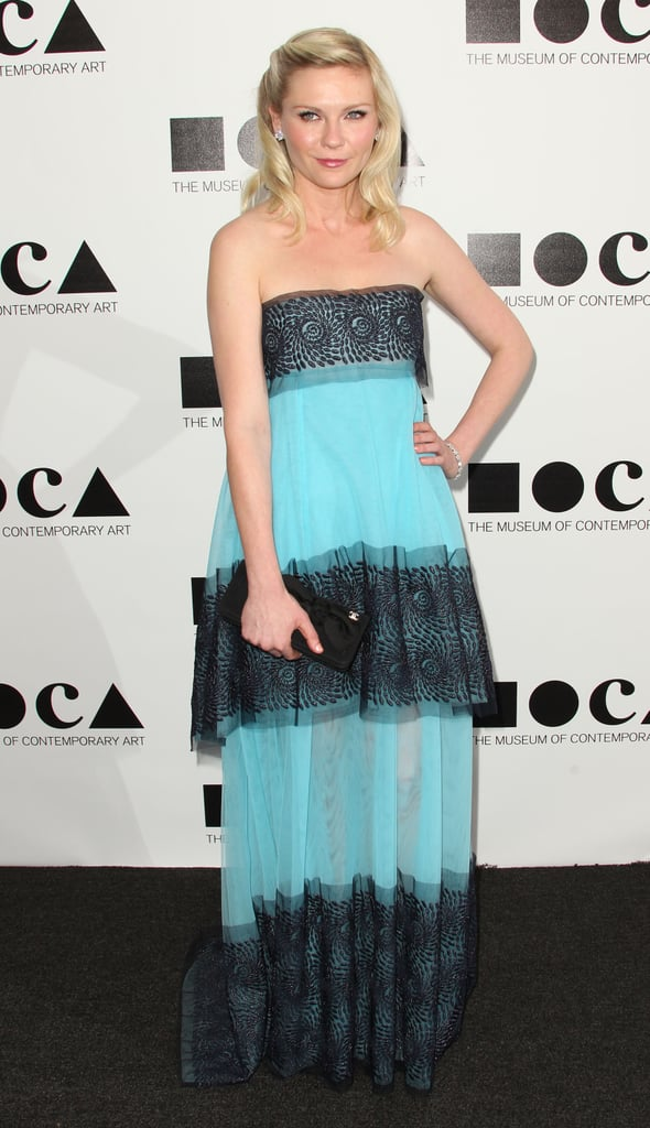 The actress was the first to sport Rodarte's Spring '12 collection, debuting this strapless two-toned empire gown to LA's Museum of Contemporary Art's annual gala in November 2011.