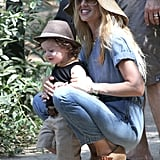 Rachel Zoe and son Skyler Berman both sported hats for a hike together in LA.
