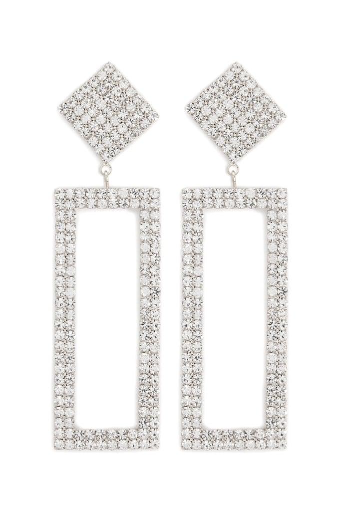 Forever 21 Rhinestone Drop Rectangle Earrings