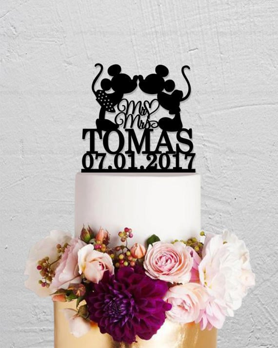 Mickey and Minnie Kissing Cake Topper ($15) | Disney Wedding Cake ...