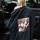 Hailey Baldwin Black Floral Dress With Justin Bieber