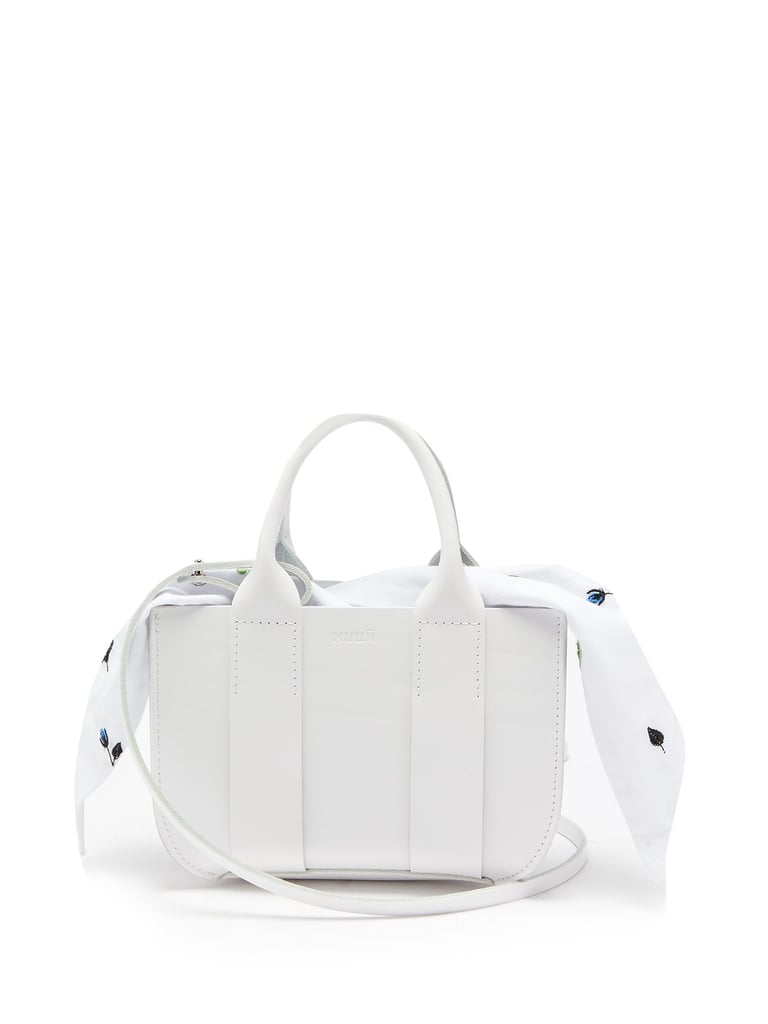 Myoso Micro Leather and Embroidered-Cotton Bag