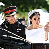 Since Meghan's tiara was so jaw-droppingly sparkly, she kept the rest of her jewelry pretty muted, opting for simple diamond earrings and a Cartier bracelet.