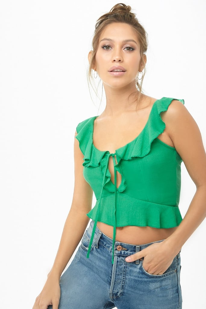 Forever 21 Ruffle Tie-Front Crop Top