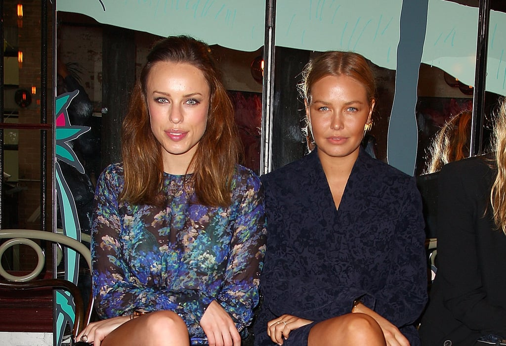 Jessica McNamee and Lara Bingle caught up at Rebecca Vallance's Spring/Summer 2013 season launch in Sydney.