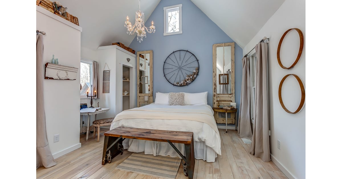The Baby Blue Accent Wall Lends Just Enough Color To The