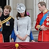 At the 2012 Trooping the Colour, it was Harry's turn to amuse his grandfather.