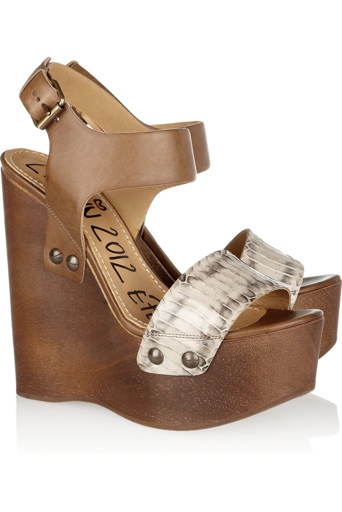 Make a statement in these sky-high, snakeskin-adorned wedges.  Lanvin Watersnake and Leather Wedges ($1,150)