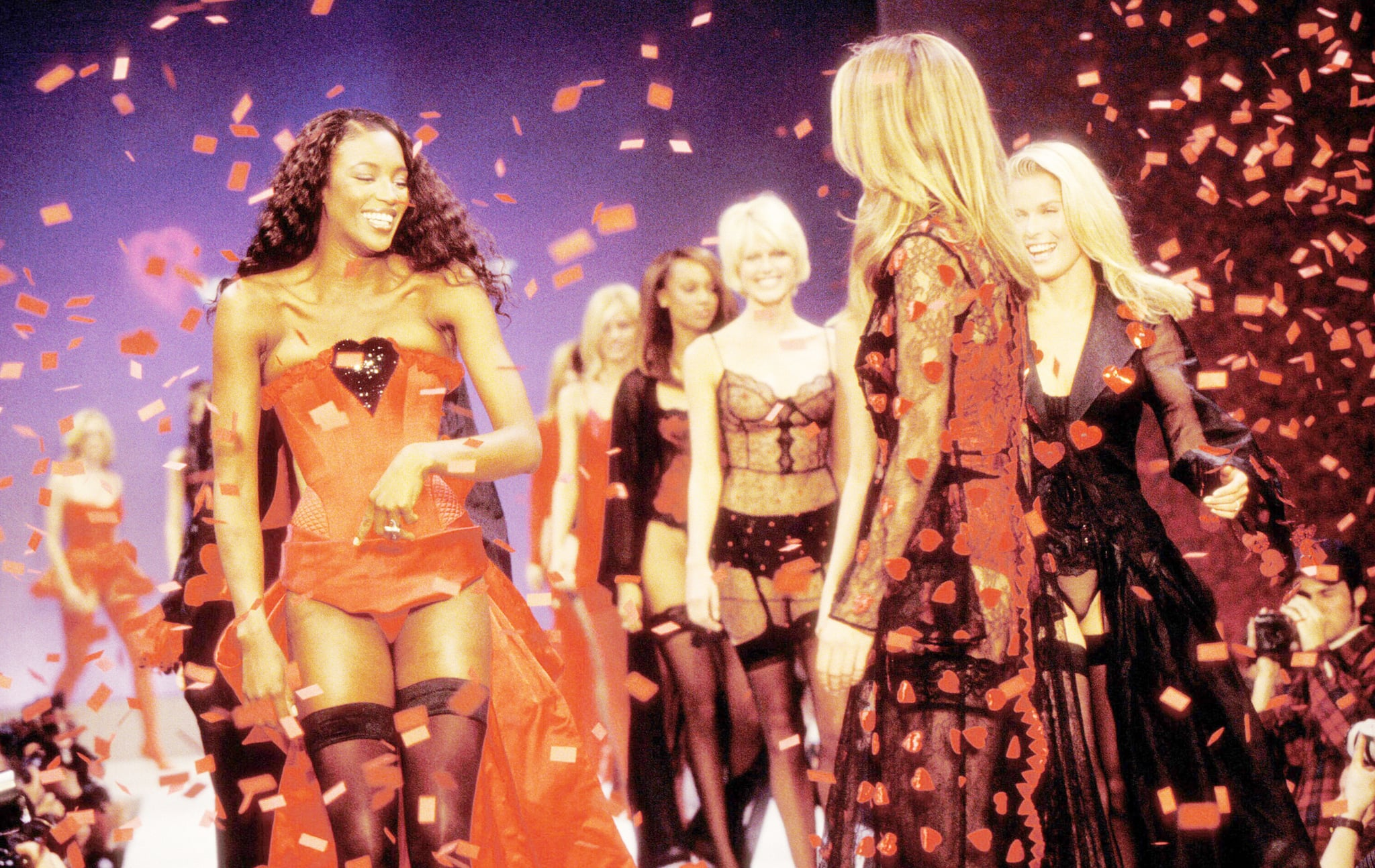 Naomi Campbell and others made their way through the confetti during the 1997 runway finale.