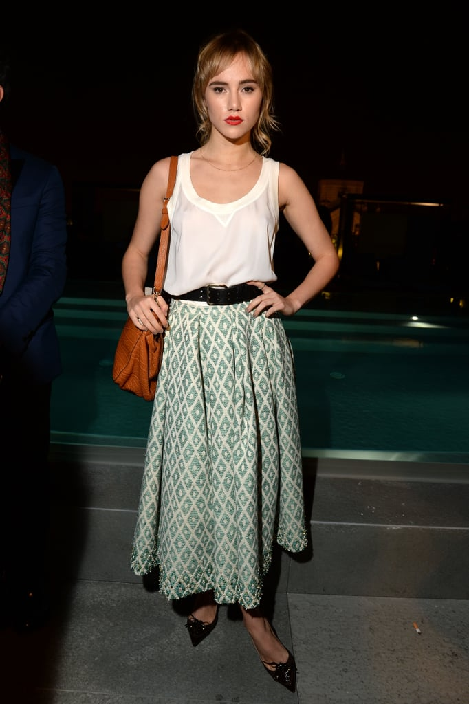 On Thursday, Suki Waterhouse attended a DSquared2 cocktail party.