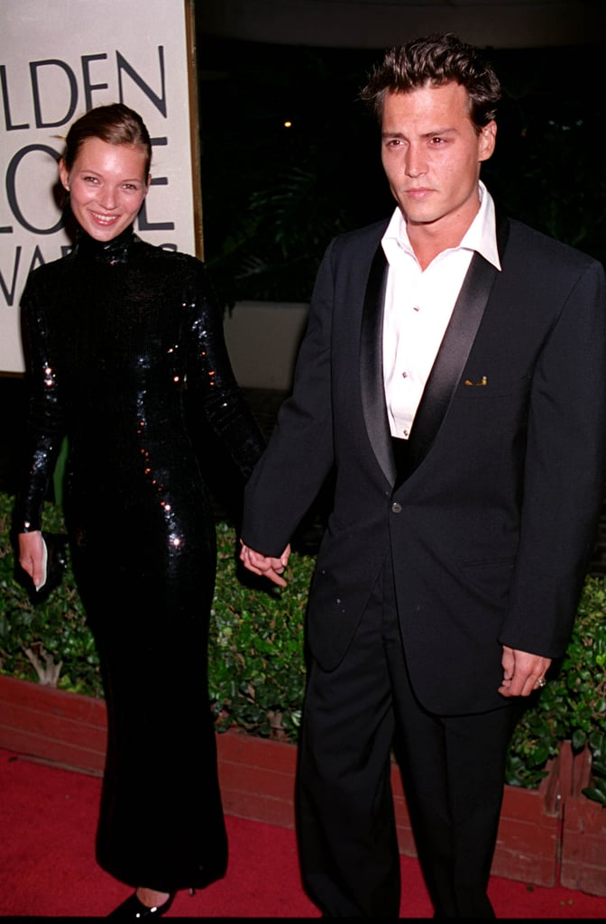 Wearing an all-over sequin column dress to the Golden Globes in 1995, with Johnny Depp.