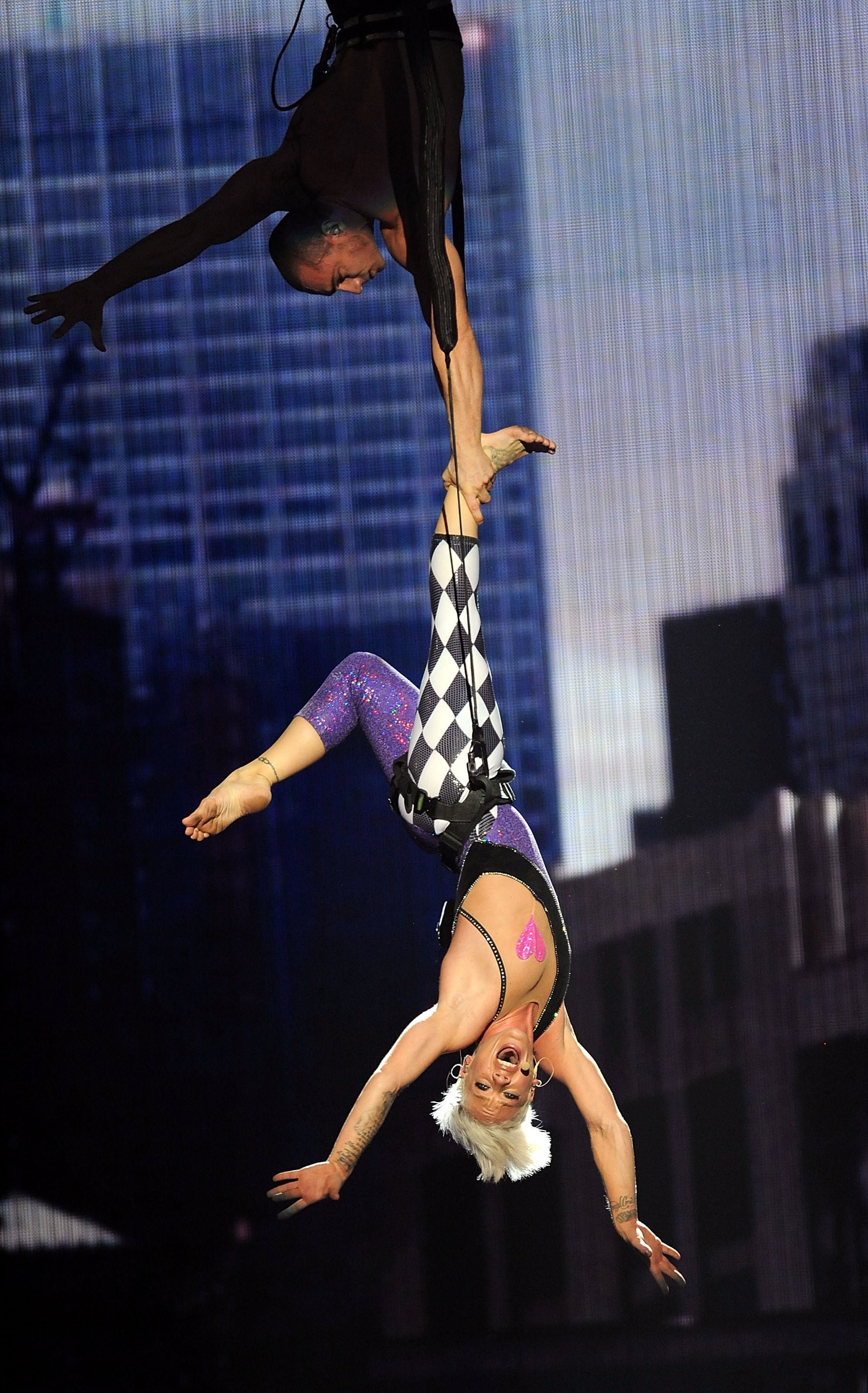 Pink showed off her acrobatic skills during a 2009 performance.
