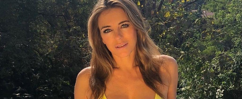 Elizabeth Hurley Wearing Yellow Bikini