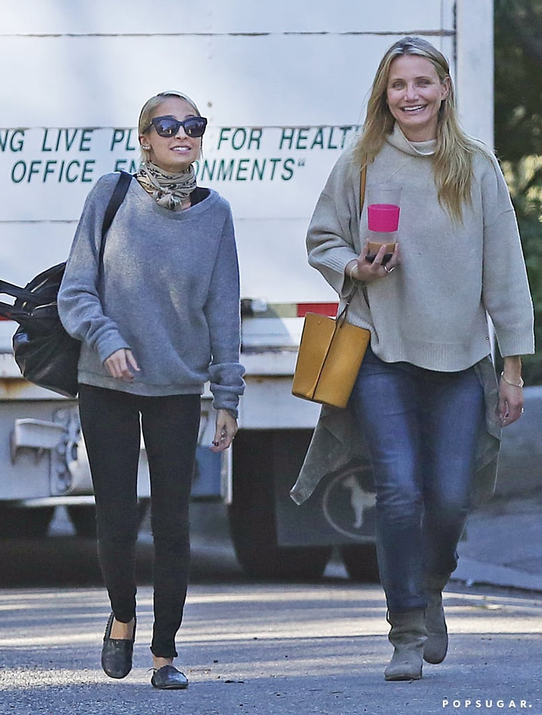 Cameron Diaz and Nicole Richie linked up to do some plant shopping at the Rolling Greens nursery in LA on Tuesday. The sisters-in-law, who are married to Good Charlotte rockers Benji and Joel Madden respectively, shared a laugh and animated conversation as they walked side by side and left the store with some greenery. While Nicole has been out and about quite a bit lately — she recently attended pal Jessica Alba's star-studded Honest Beauty dinner as well as a CFDA event and a private fashion dinner — we haven't spotted Cameron on the red carpet since nearly a year ago, at the December 2014 premiere of Annie. She and Benji, who tied the knot in January, seem to be laying low and enjoying the newlywed life; they were snapped shopping for housewares in Hollywood last week after a whirlwind trip to Australia together earlier this year. Keep reading to see Nicole and Cameron's cute sisterly outing.
