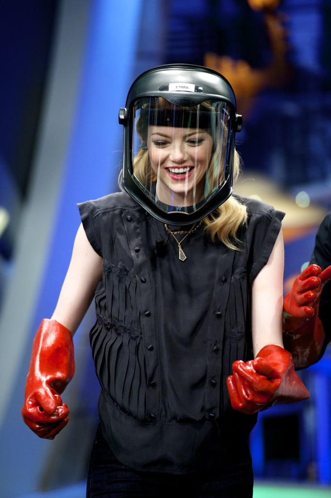 Emma Stone donned boxing gloves and a face shield while making a silly appearance on Spanish TV show El Homiguero in July 2012.