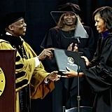 Michelle Obama received her honorary degree.