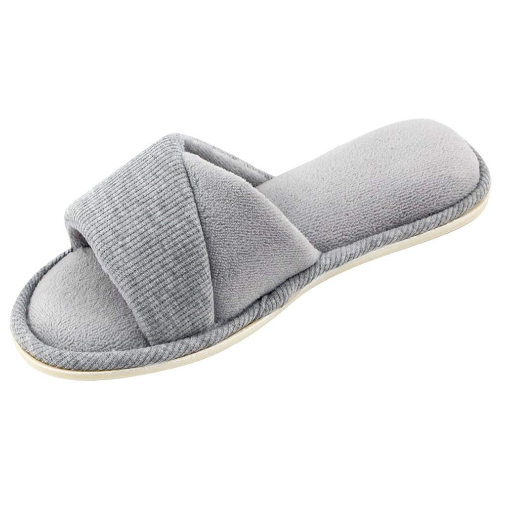 HomeIdeas Women's Open Toe Terrycloth Slide House Slippers