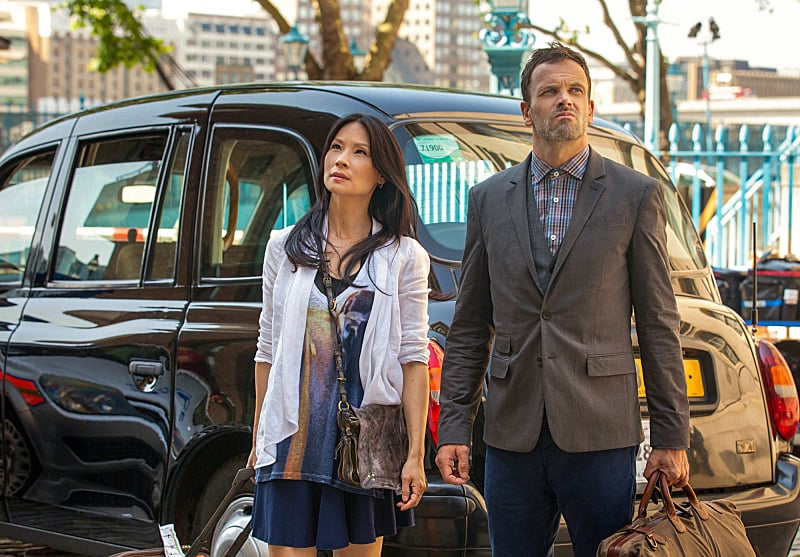 "Elementary Lucy Liu and Jonny Lee Miller in ""Step Nine,"" the season premiere of Elementary, airing Sept. 26 on CBS."