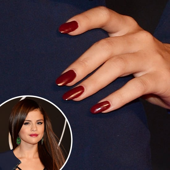 Going for a sophisticated look, Selena Gomez wore a rich cranberry hue on her long, rounded nails.