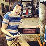 Christopher Mintz-Plasse seemed psyched to be sharing a set next to Thor. Source: Instagram user mintzplasse