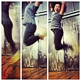 "Chi Chau got air! Just another day at the office — aka a photo shoot for #Marchphotoaday's ""jump"" theme. It must have been her Isabel Marant wedge kicks."