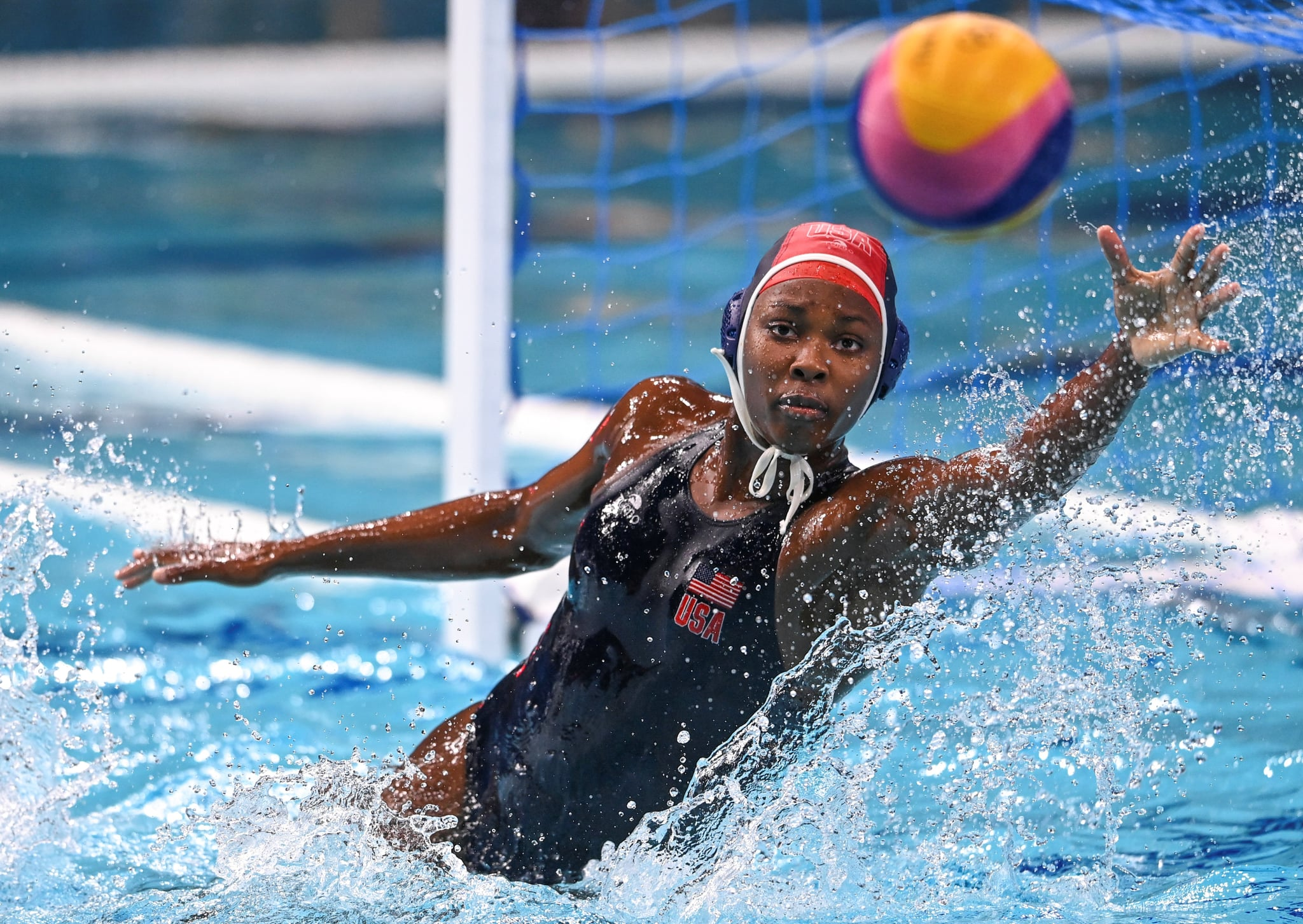 Ashleigh Johnson of the United States competes during the water polo women's gold medal match between Spain and the United States at the Tokyo 2020 Olympic Games in Tokyo, Japan, Aug. 7, 2021. (Photo by Xia Yifang/Xinhua via Getty Images)