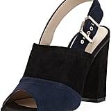 Neiman Marcus Kimi Suede Colorblock Peep-Toe Sandal, Black
