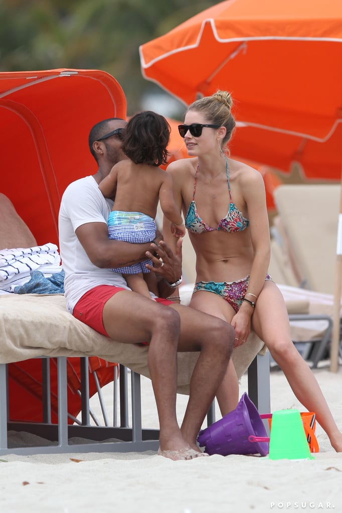 Doutzen Kroes and Sunnery James took their son, Phyllon, to the beach in Miami.