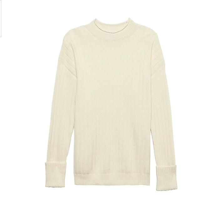 Machine-Washable Wool-Cashmere Ribbed Sweater