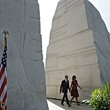 The Obamas made their way to the stage for the president to spoke at the dedication of the Martin Luther King Jr. Memorial in October.