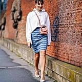 Style a Designer Pencil Skirt With a Hoodie and Pumps