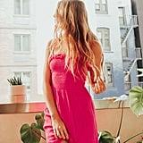 UO Sabrina Gauze Smocked Mini Dress