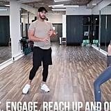 Do the same step-back move, but this time, reach your arms up and back to really stretch out your abdomen. Repeat the last two exercises with the other leg now.