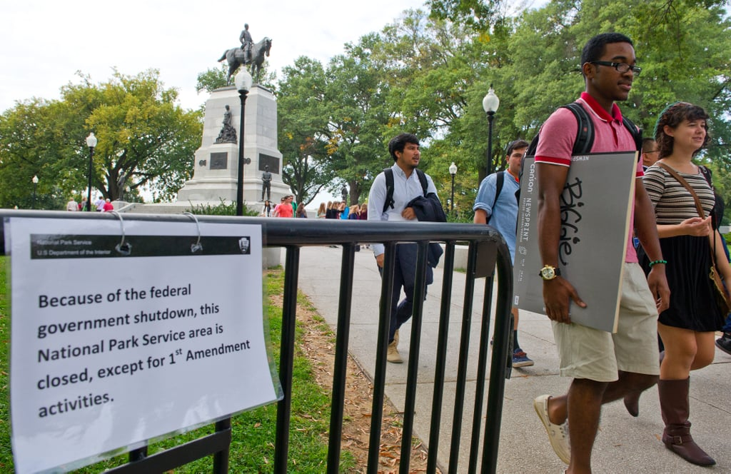 "A sign in Washington DC read, ""Because of the federal government shutdown, the National Park Service area is closed, except for First Amendment activities."""